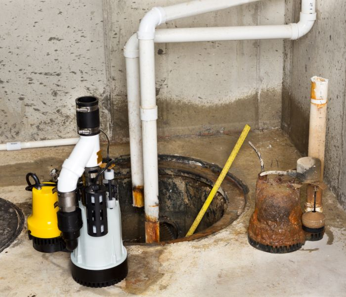 A sump pump installation in a Springfield home.